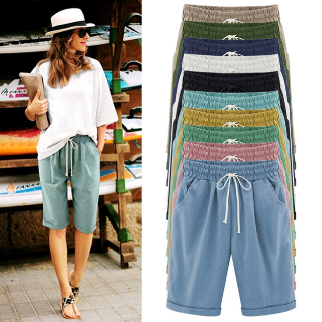2020 Fashion Ladies Summer Solid Color Casual Shorts Five Shorts Thin Section Wear Shorts Large Size Women's Loose Shorts S-8XL