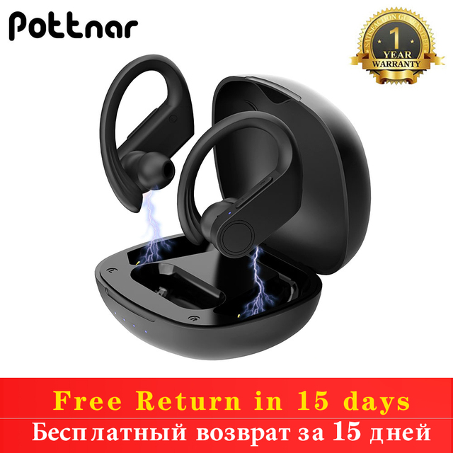 Pottnar True Wireless Earbuds TWS Bluetooth Earphone 5.0 with Charger Box Sports Earhook Wireless Headphones for Mobile Phone