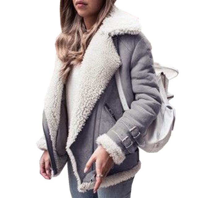 Women Faux Fur Suede Jackets 2019 Autumn Winter Thick Warm Jackets Female Casual Coats Long Sleeves Street Red Outwear Plus Size