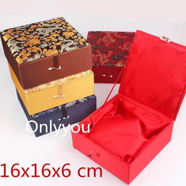 Extra Large Square Cotton Filled Wooden Jewelry Storage Box Collection Home Decoration Chinese Silk Brocade Gift Packaging Case