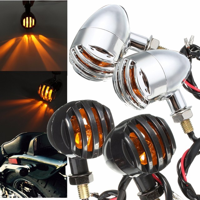 1 Pair 12V 5W Chrome/Black Plastic Amber Motorcycle Grill Bullet Indicator Turn Signal Lights