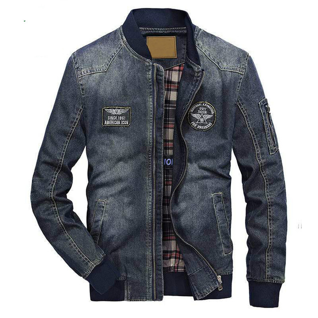 Mens Denim Jacket Brand Clothing Big Size M-4XL Jaqueta masculina Turn-down Collar Military Warm jeans Jackets hombre