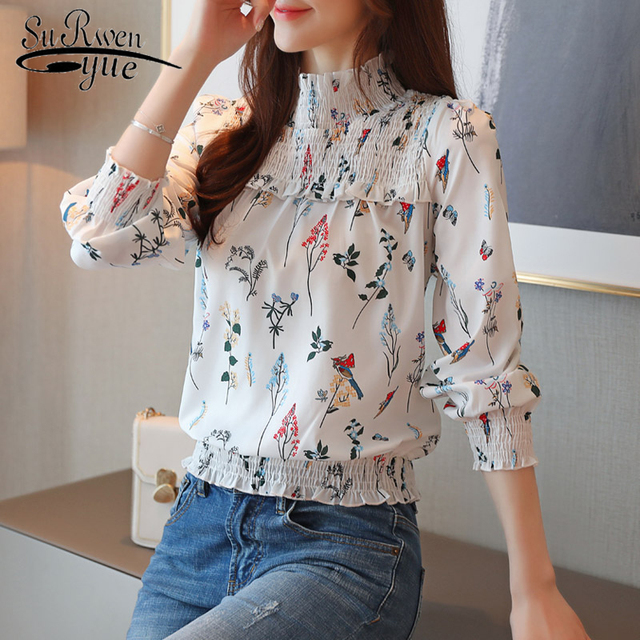 Vintage Pullover Chiffon Women Shirt Camisas Mujer 2019 New Long Sleeve Plus Size Printing Women Blouse OL Loose Tops 6956 50
