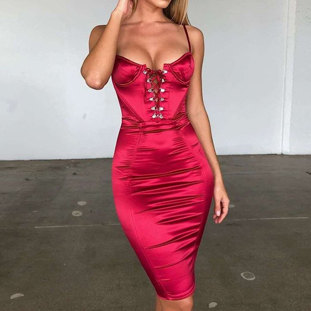 Red Satin Sexy Mini Dress Sleeveless Summer Party Dress Strappy Deep V Neck Backless Bodycon Short Night Out Dress