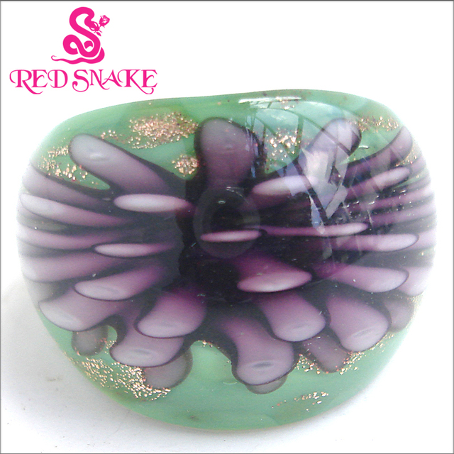 RED SNAKE Fashion Ring Handmade Green color with  Purple flower Murano Glass Rings