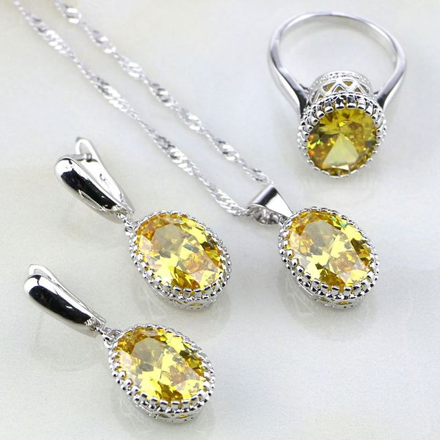 Crown 925 Sterling Silver Jewelry Yellow Orange Rhinestone Jewelry Sets For Women Wedding Earring/Pendant/Necklace/Ring
