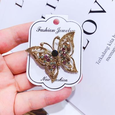 Vintage Delicate Elegant Color Rhinestone Butterfly Female Brooch Alloy Retro Animal Brooch Girl Women Clothing Accessories Pin