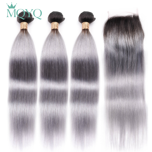 MQYQ 1b Grey Ombre Human Hair Bundles With Lace Closures 3 Bundles Ombre Human Hair 100% Remy  Brazilian Straight Hair