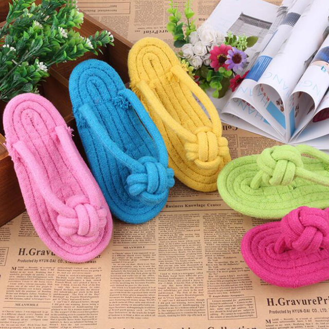 Cotton Rope Flip Flops Styles Dog Rope Toys Handmade Braided Pet Chew Toys Teeth Cleaning Pet Play Toys Small Dogs