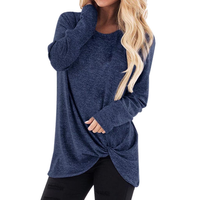 Solid Color Blouse Women Fashion Loose Long Sleeve O-Neck Casual Solid Tunic Shirt Blouse Tops blusas mujer de moda 2019