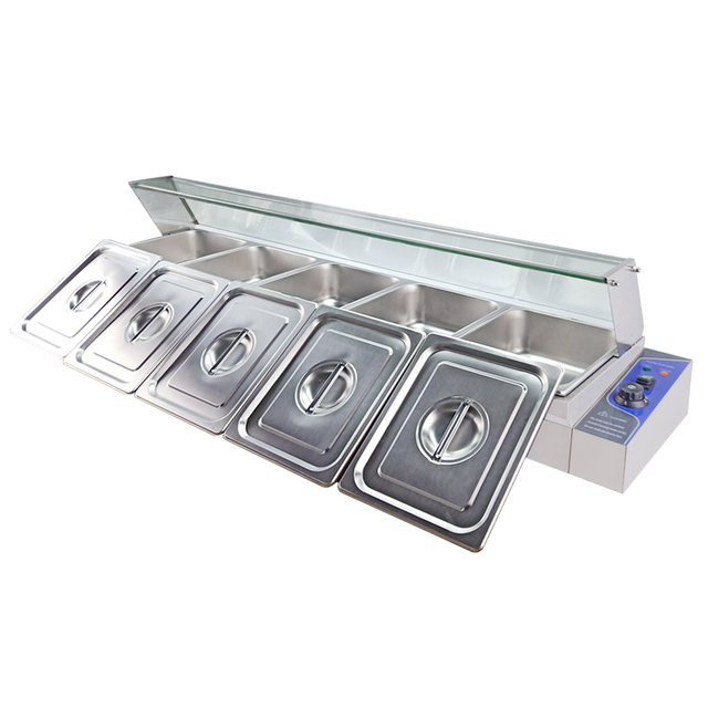 Brand Commercial Bain Marie Counter Stainless Steel Buffet Electric Food Warmer Soup Heating Pool 5 Pots & Lids
