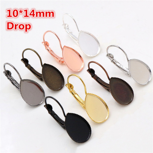10*14mm 10pcs/lots 8 Colors plated Drop Style French Lever Back Earrings Blank/Base,Fit 10*14mm Drop glass cabochons
