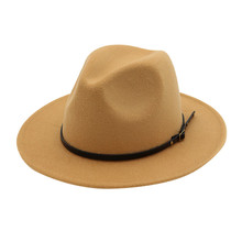 Men Women Vintage Wide Hat With Belt Buckle Adjustable Outbacks Hats Men Fashion Black Top Jazz Hat Fedoras