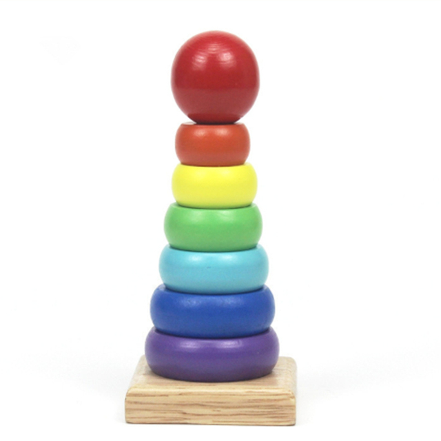 Warm Color Rainbow Stacking Ring Tower Stapelring Blocks Wood Toddler Toy Baby Toys Infant Toys Girl wooden rainbow
