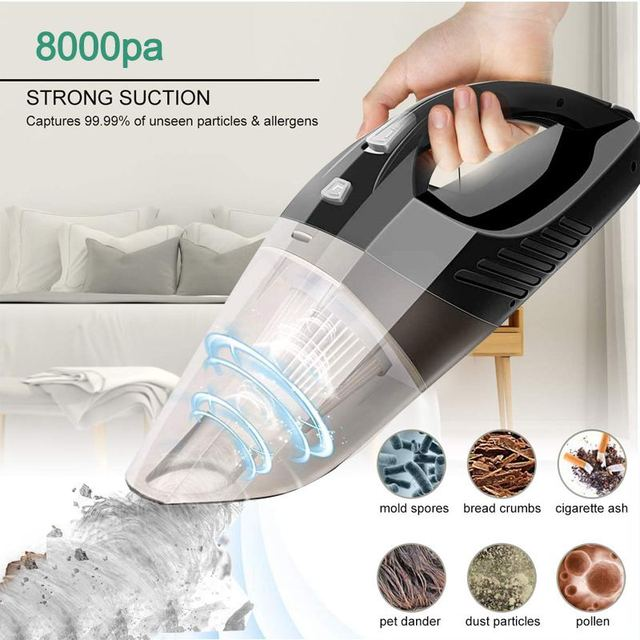 8000pa Strong  Car Vacuum Cleaner 12V 120W Home Indoor Auto Handheld Vacuum Cleaner Portable Cordless 8KPA Wet/Dry Dual Use