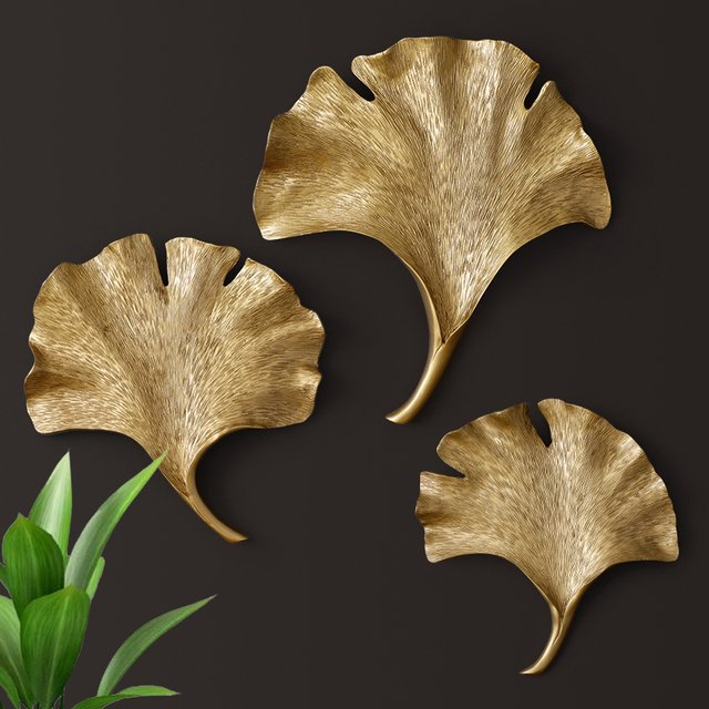 European 3D Resin Leaf Wall Hanging Home Bar Furnishing Crafts TV Background Wall Decor Gold Silver leaves