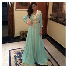 New Arrival Beaded Evening Dresses Luxury A Line Long Sleeves Sexy V Neck Chiffon Floor Length Prom Formal Party Gown