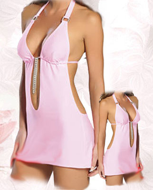 Free Shipping Sexy Lingerie  x9044 Pink Mini Dress Underwear One Size