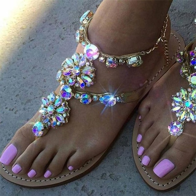 Sandals Women Shoes 2020 Summer Fashion Flat Sandals Rhinestones Crystal Shoes Women Slippers Flip Flops Sandalia