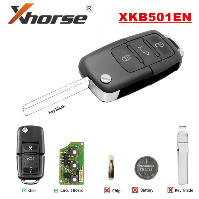 Xhorse XKB501EN B5 Style X001-01 for V-W Wired Universal Remote Key 3 Buttons for VVDI Key Tool English Version