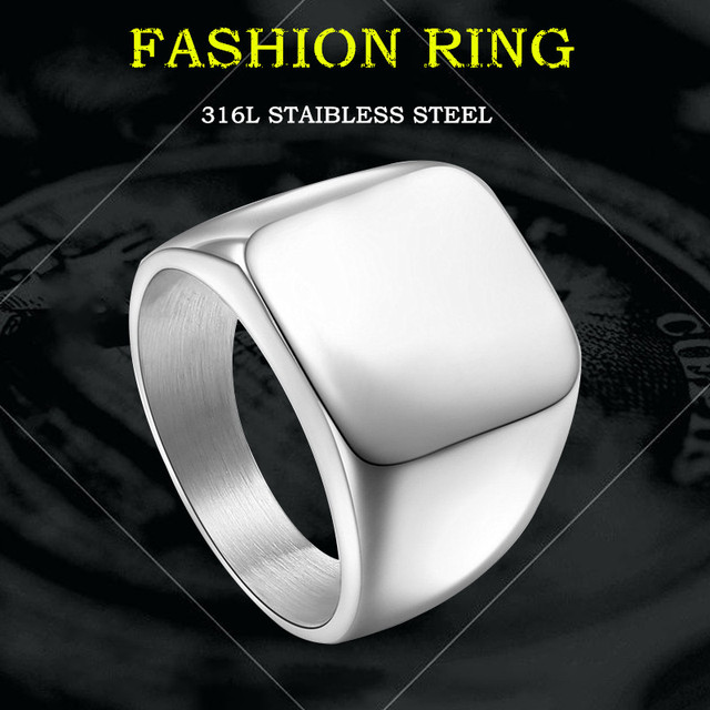 KLDY Fashion Signet Rings for men stainless steel simple Square Ring gold/black/silver Polished Finger ring jewelry wholesale