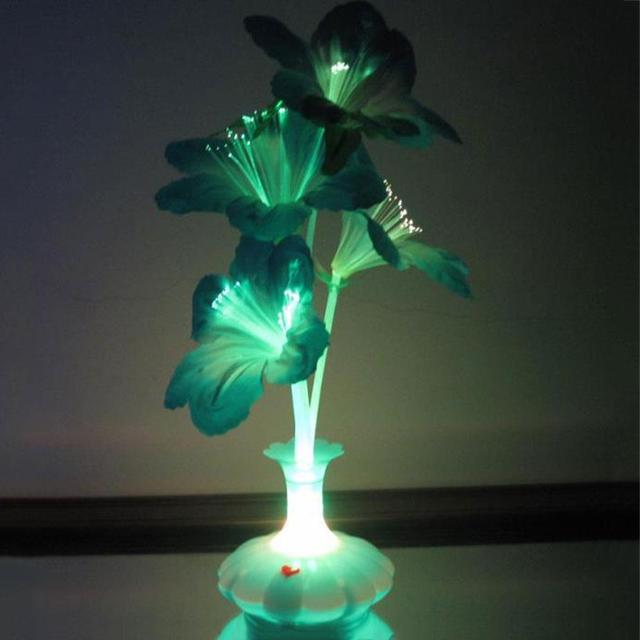 LED Fiber Flower Kapok Vase Optical Fiber Lamp Blossom Decoration Colorful