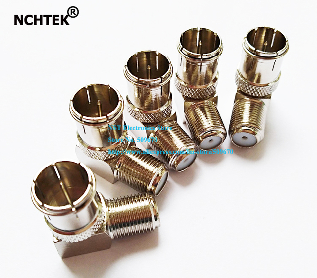 NCHTEK Copper F Push-On 90 Degree Right Angled Male to Female Connector Adapter Coax RG6 RG59/Free Shipping/20PCS