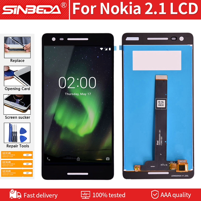 "Original 5.5"" For Nokia 2.1 LCD Display Touch Screen Glass Panel Digitizer For Nokia TA-1080 TA-1084 A-1086 TA-1092 LCD With Kit"