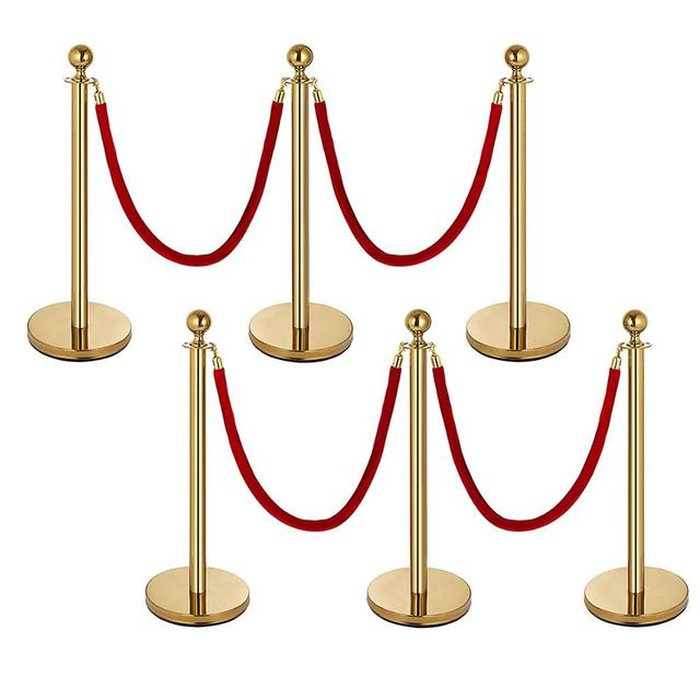 VEVOR 6-Pack Gold Stanchion Post Queue Rope Barriers 4 Red Velvet Ropes 38 Inch Crowd Control Barrier Queue Line