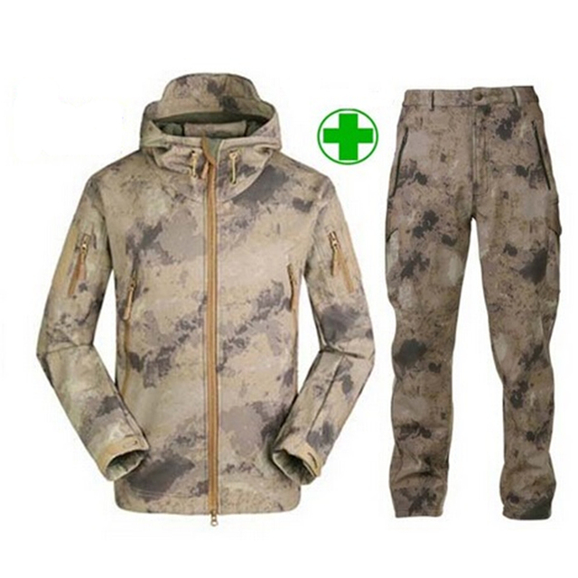 Tactical TAD Gear Soft Shell Camouflage Outdoor Jacket Set Men Army Sport Waterproof Hunting Clothes ACU Military Jacket + Pants