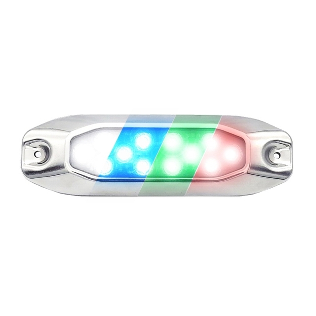 """4X 7"""" Surface Mount RGBW 4-in-1 Multi-ColourLED Marine Dock Underwater Lights for Boat Yacht 316G SS"""