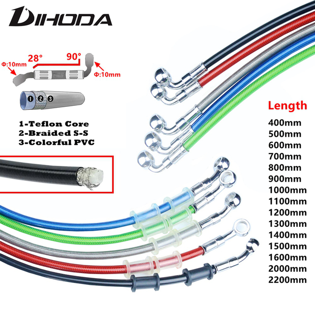 Universal 400 To 2200mm Motorcycle Hydraulic Reinforced Brake Clutch Oil Hose Line Pipe For KTM ATV Dirt Pit Racing Bike