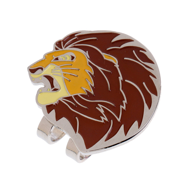 New Alloy Lion Head Golf Ball Marker with Magnetic Golf Hat Clip Golfer Gift