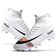 New Soccer Shoes Men High Top Training Ankle AG//TF Sole Outdoor Cleats Sport Sho