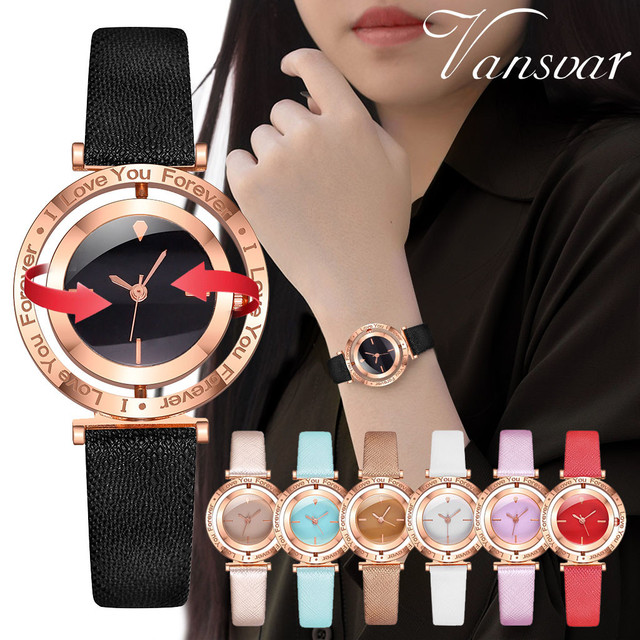 2020 vansvar Women's Casual Quartz Leather Band Strap Spin Watches Analog Wrist Watch Women's Watches Fashion Starry Sky Quartz