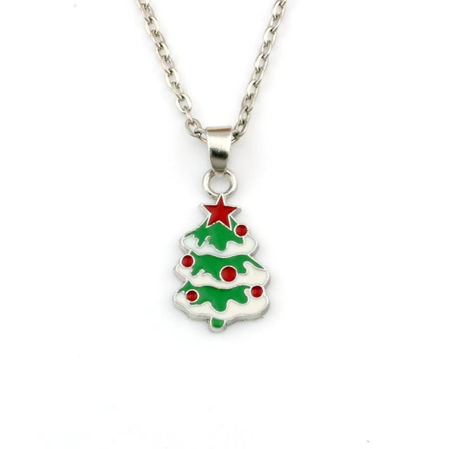 20pcs/lots Enamel Christmas tree Alloy Charms Pendant Necklaces Jewelry DIY 19.6 inches Chains Christmas gift A-568d