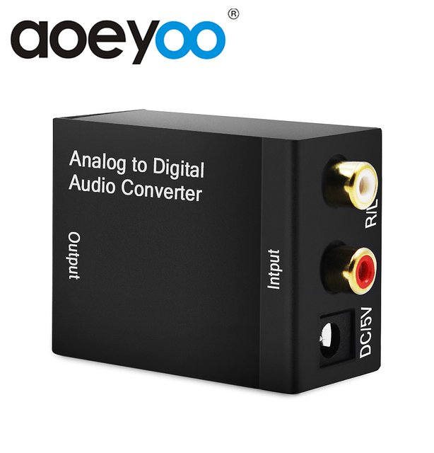 AOEYOO Analog to Digital Audio TV Converter Coaxial to Optical Toslink Spdif Audio Adapter RCA L/R 3.5mm with Optical Cable
