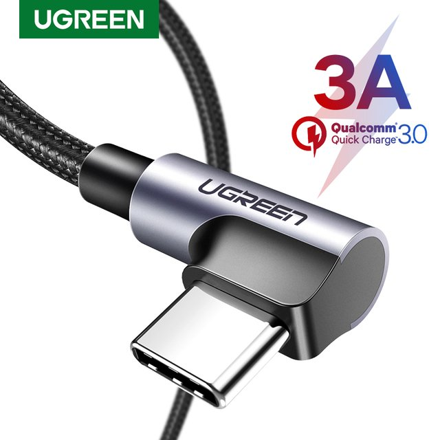 UGREEN Nylon USB C Cable 90 Degree Fast Charger USB Type C Cable for Xiaomi Mi 8 Samsung Galaxy S9 Plus Mobile Phone USB-C Cord