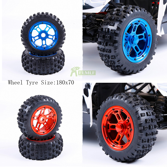 Gabu Gen.3 Knobby Tire Assembly Set with Alloy CNC Wheels Hub Upgraded Waterproof Lining for 1/5 Losi 5ive T Rovan LT KM X2