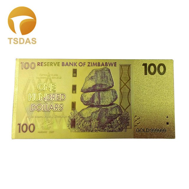 10pcs/lot Thailand Gold Banknote 100 Baht Banknote in 24k Gold Double Side Printing For Collection