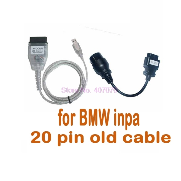 by DHL or Fedex 20pcs For B M W INPA K+DCAN Cable  with 20pin cable