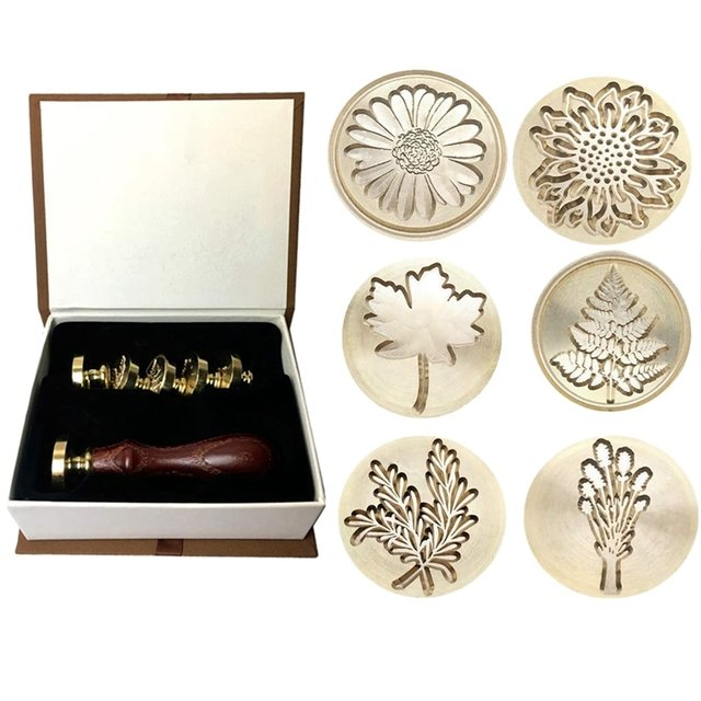 Moorlando Wax Seal Stamp Set, 6Pcs Botanical Sealing Wax Stamp Brass Heads + 1Pc Wooden Handle With A Gift Box Vintage