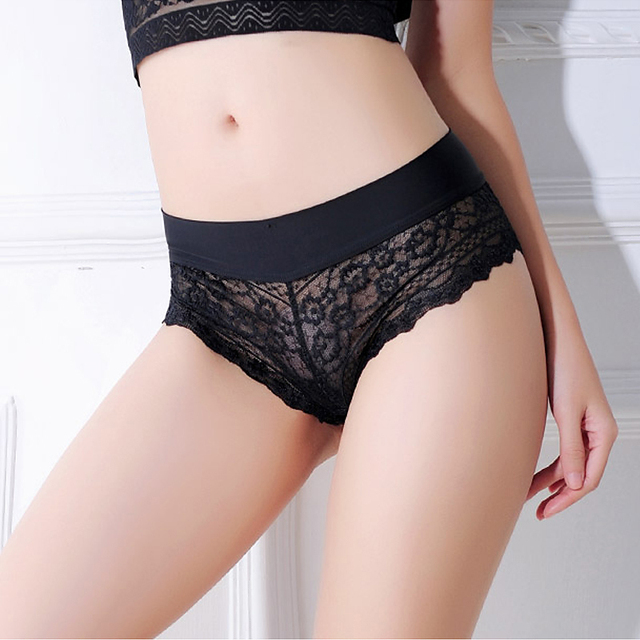 Sexy Lace Panties Woman Cotton Briefs Transparent G-String Underpants T-back Black White Underwear Female Lingerie Dropshipping