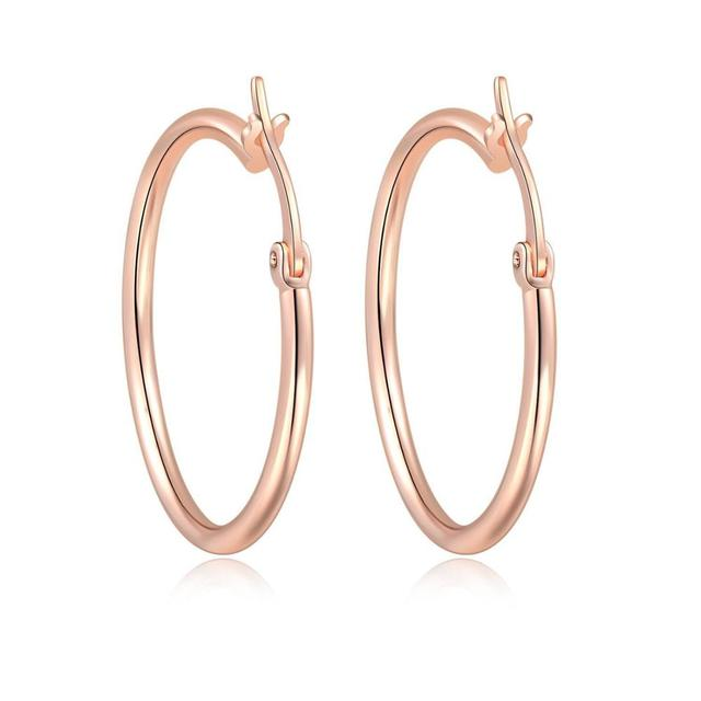 MxGxFam  30mm Rose Gold Color Smooth Circle Hoop Earrings For Women Fashion Jewelry no stone