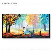 New Arrivals Hand-painted High Quality Abstract Knife Painting Colorful Landscape Acrylic Painting Forest Trees Acrylic Painting