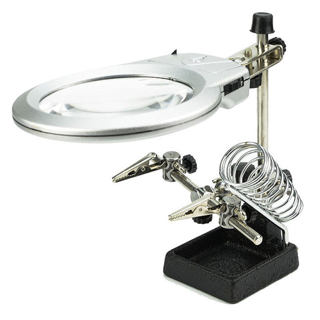 2x, 6x Hands Free Desktop LED Light Magnifier with Soldering Iron Stand Spring and Auxiliary Clip MG16129-A