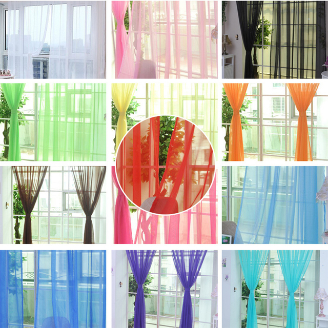 Pure Color Tulle Curtains For The Kitchen Living Room Solid Sheer Curtains Tulle On The Windows Drapes Window Screen 100x200