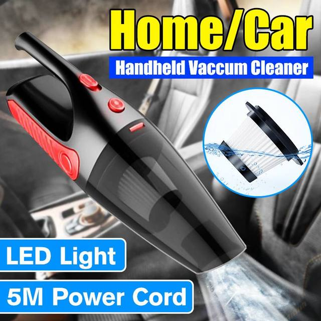 5000Pa Cordless Home / Car Vacuum Cleaner 12V 120W Handheld Auto Wet Dry Dual Use Portable HEPA Filter Vacuums with LED Light