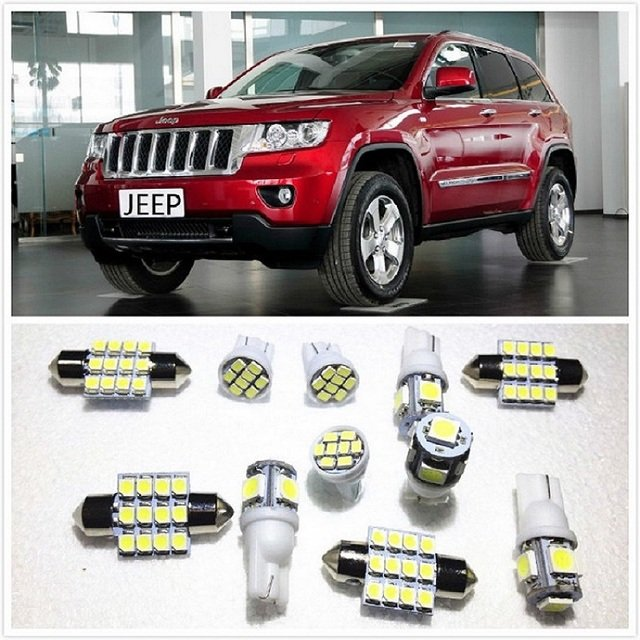 11 set White LED Lights Interior Package 10 & 36mm Map Dome For Jeep Patriot Cherokee Grand Cherokee Commander Wrangler1998-2019