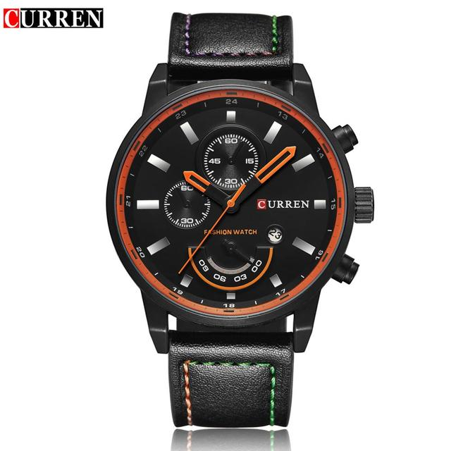 Curren Mens Sports Watch Luxury Leather Strap Quartz Watches Military Casual Waterproof Wristwatch Male Clcok Relogio Masculino